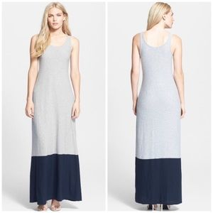 Vince Colorblock Gray Navy Scoop Neck Maxi Dress